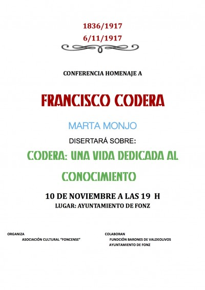 Conferencia homenaje a Francisco Codera Zaidín en Fonz